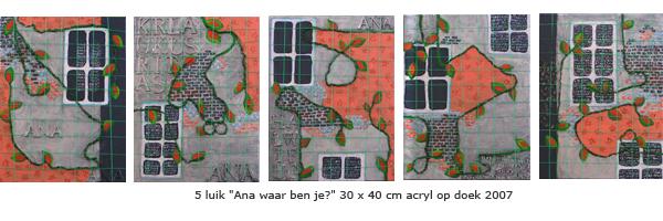 """5 luik """"Ana, waar ben je?""""van Ann Hoogendoorn - beeldend kunstenaar"""